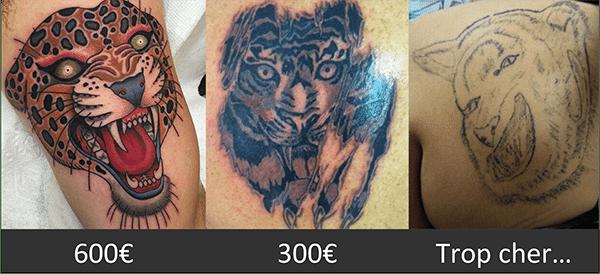 Le prix des tatouages.